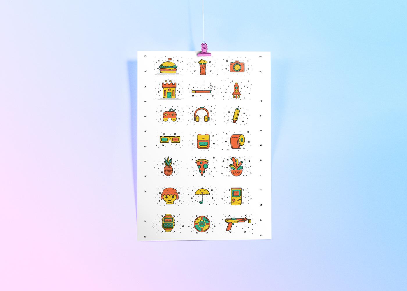 Miscelánea de iconos gratuitos con un espíritu alegre y de tendencia nostálgica 23