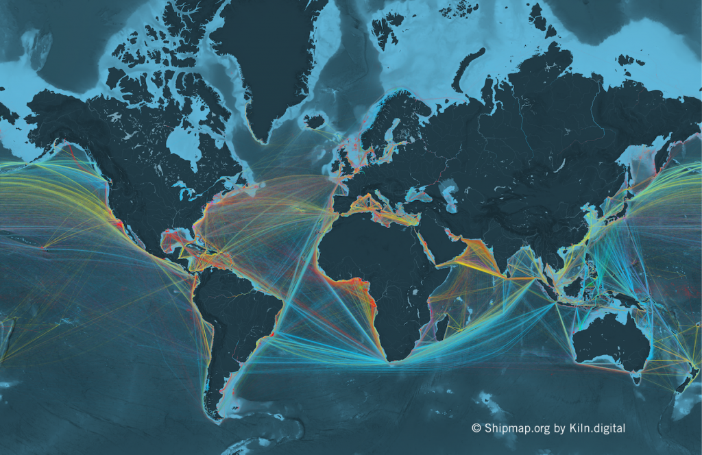 Oro: ShipMap.org por Duncan Clark y Robin Houston en Kiln; datos de UCL (UK)