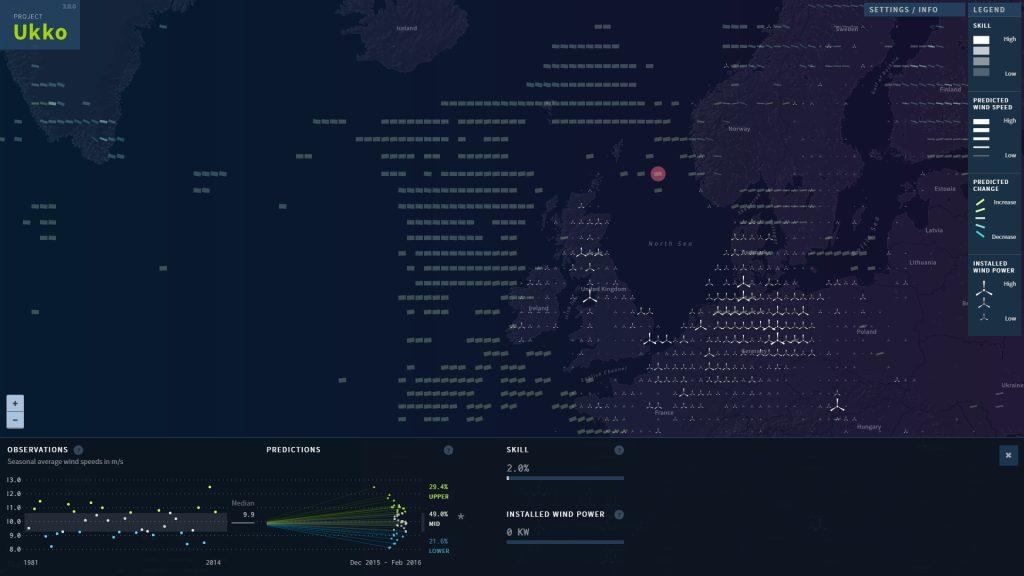 Moritz Stefaner para Project UKKO - Seasonal Wind Predictions for the Energy Sector (Alemania)