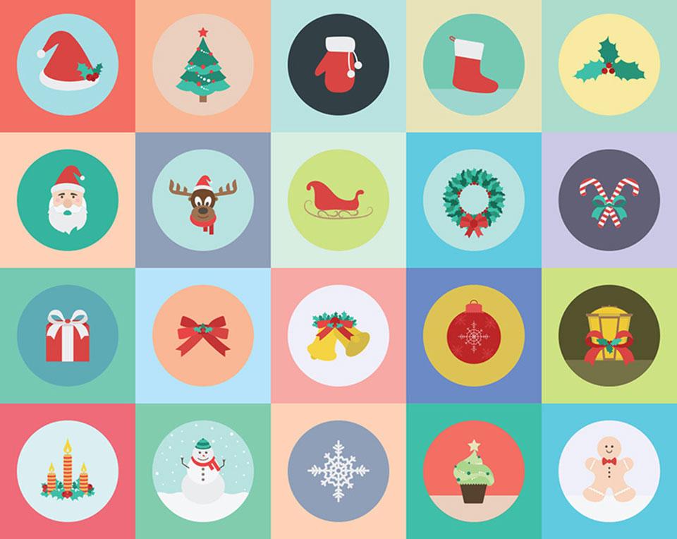 20 iconos navideños gratuitos por Zippy Pixels