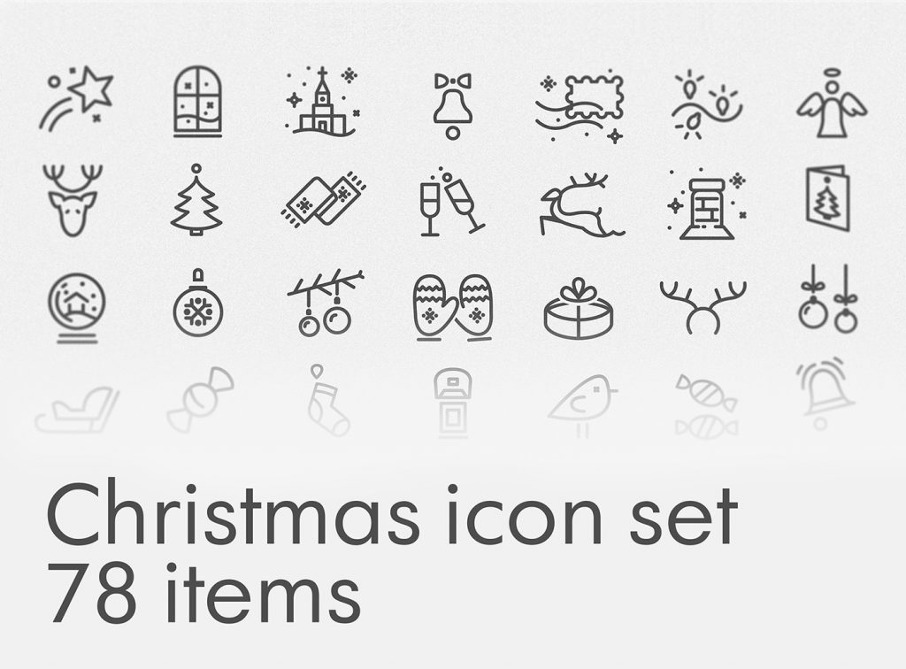 Christmas icon set 78 items por Olha Filipenko