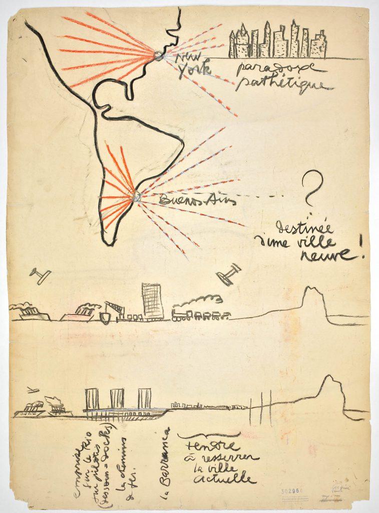 Dibujo de Le Corbusier de Nueva York y Buenos Aires, 1929