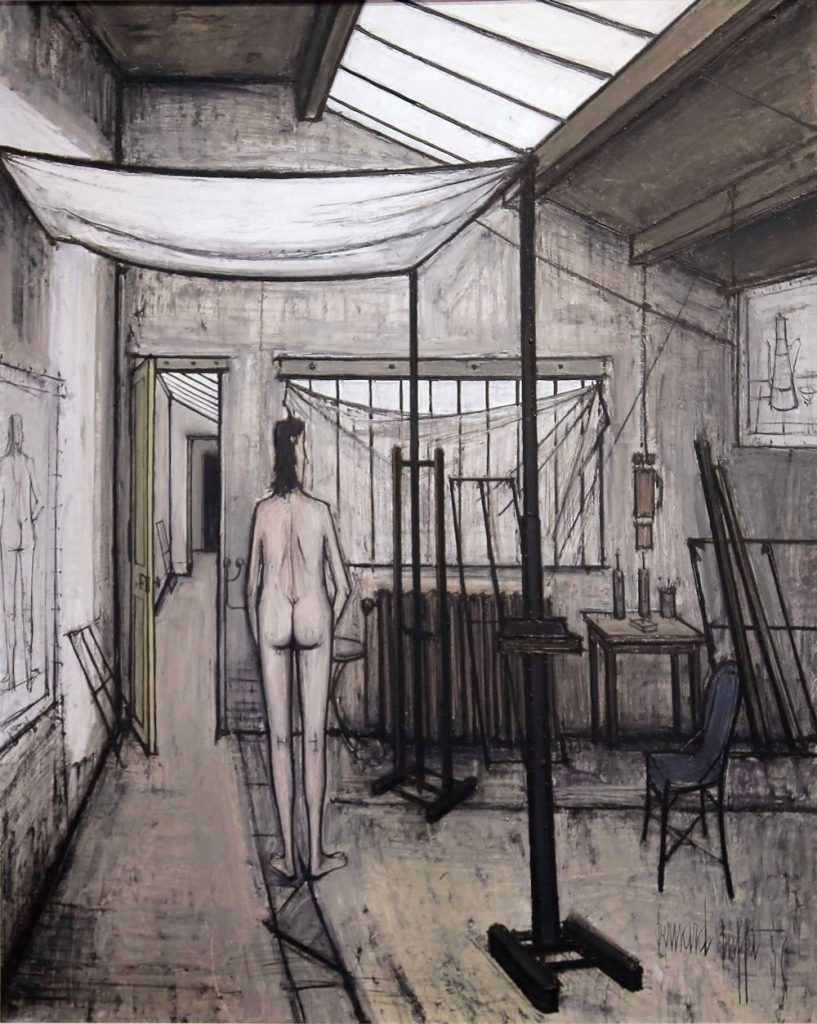 Modèle dans l'atelier de Bernard Buffet, 1956