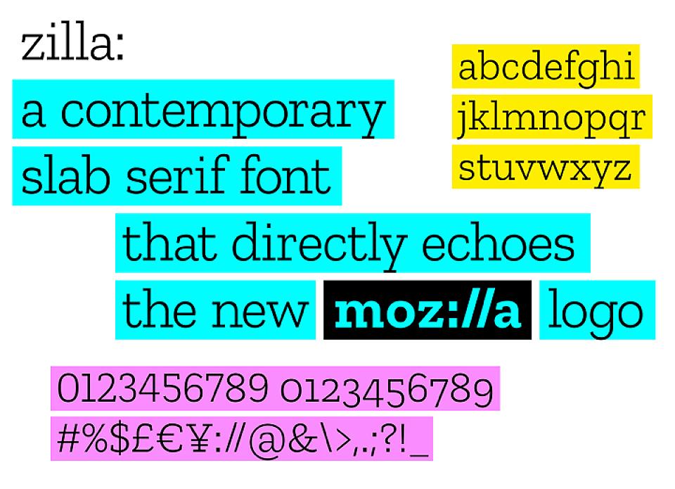 Zilla es una tipografía slab que se inspira en Courier, la fuente de los programadores. A pesar de tener un carácter marcadamente digital, sus formas resultan amables. Y, dado que Zilla es una tipografía de libre acceso, todo el mundo podrá crear el nuevo logotipo de Mozilla al descargarse esta fuente.