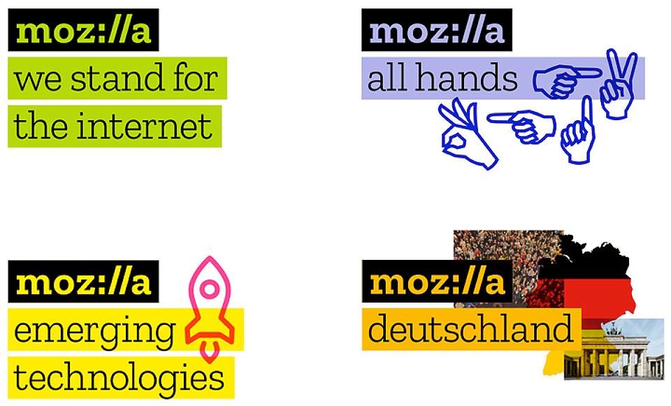 Estos son algunos de los ejemplos de la amalgama de recursos gráficos que acompañarán a la nueva marca de Mozilla.