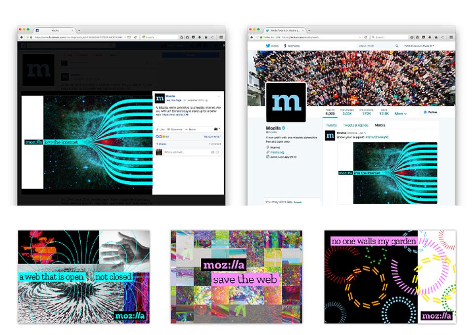 Estos son algunos de los ejemplos de la amalgama de recursos gráficos que acompañarán a la nueva marca de Mozilla.- 2