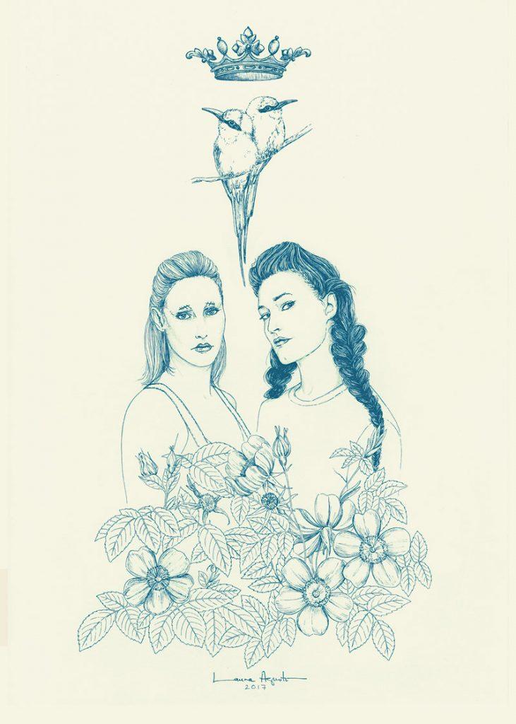 Laura Agustí, en la exposición de Hits With Tits, dibuja a CocoRosie