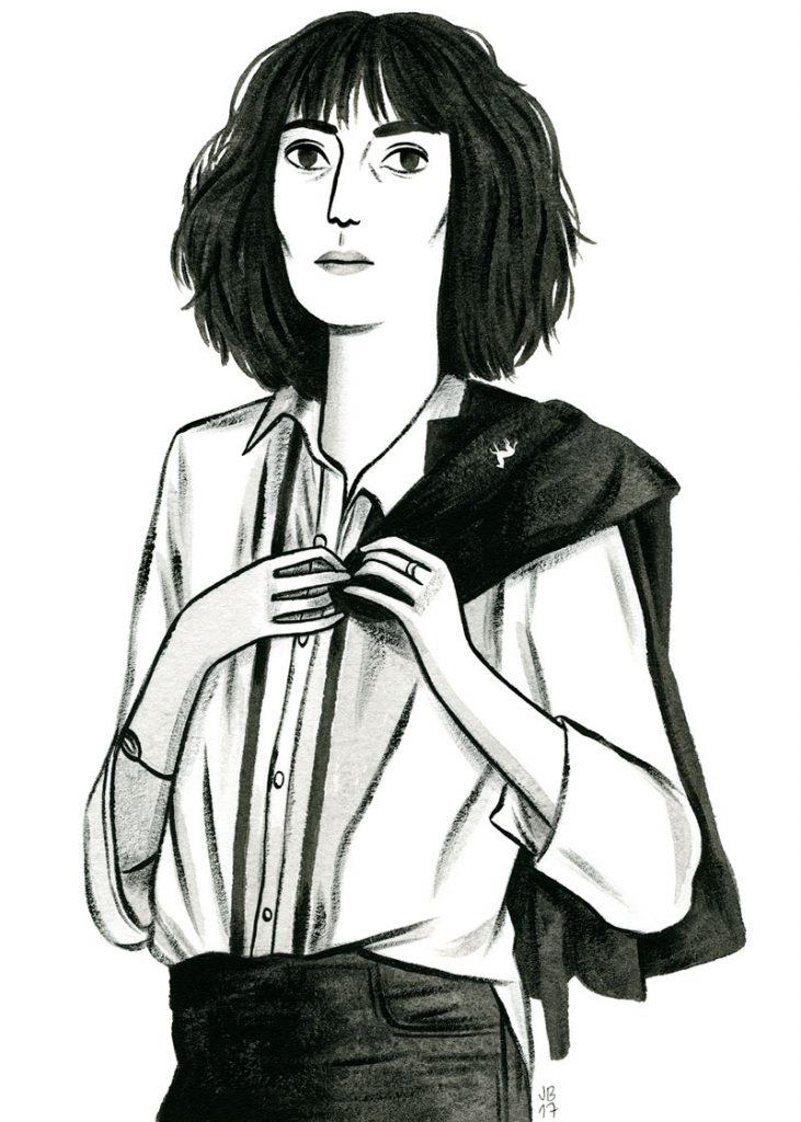 Patti Smith, dibujada por Júlia Bereciartu en la exposición de Hits With Tits