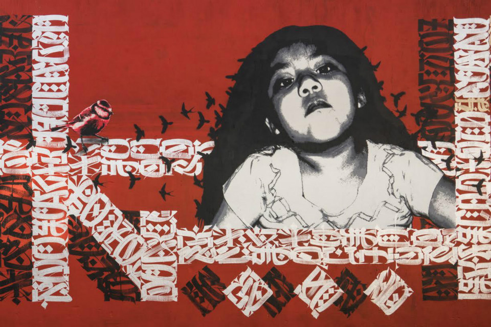 Detalle del mural 'Del Barrio' de Said Dokins y Lapiztola
