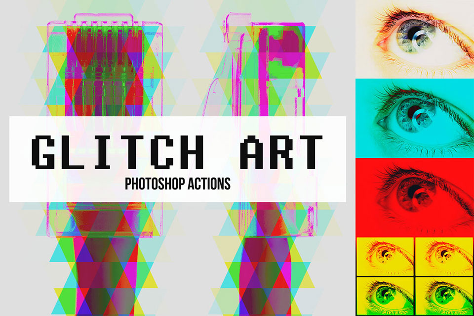 Abstract Glitch Art Photoshop Actions por Pstutorialsws