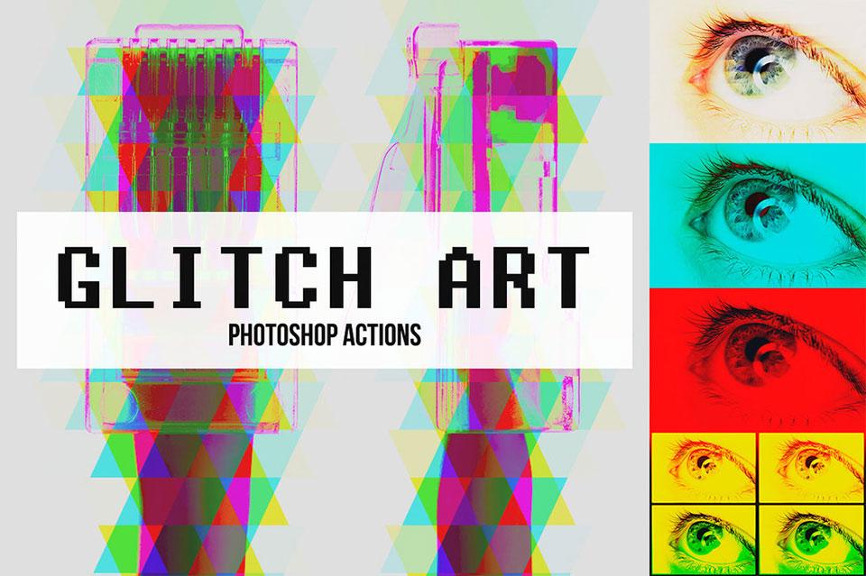 Abstract Glitch Art Photoshop Actions por Pstutorialsws