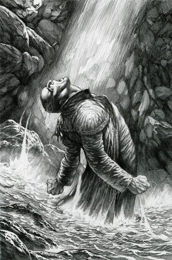 Ilustración de Bernie Wrightson, en la que destaca el uso de luces y sombras