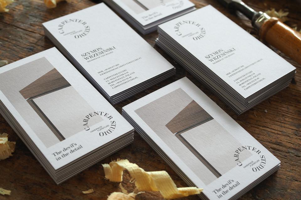 Tarjetas de presentación de Carpenter Studio diseñadas por Minima Advertising People