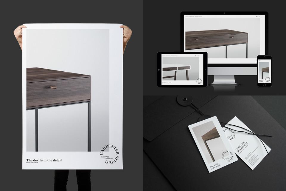 Cartelería y website de Carpenter Studio con diseño de Minima Advertising People