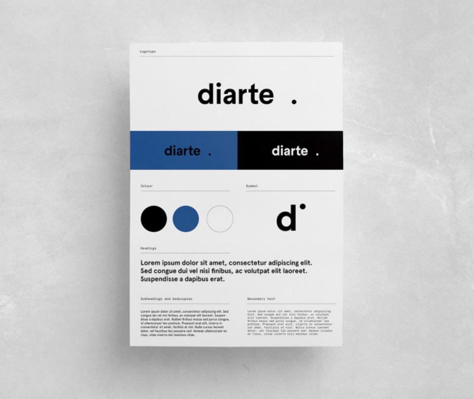 Logo y colores corporativos de la marca Diarte