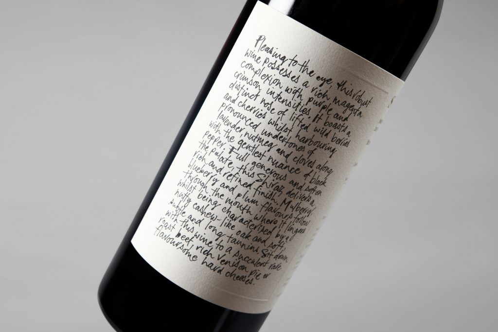Packaging vino sumiller botella Niche Wine Co.
