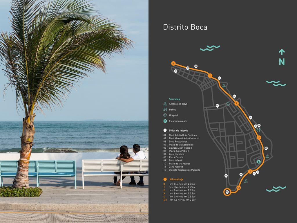 Mapa informativo en un tótem de Distrito Boca