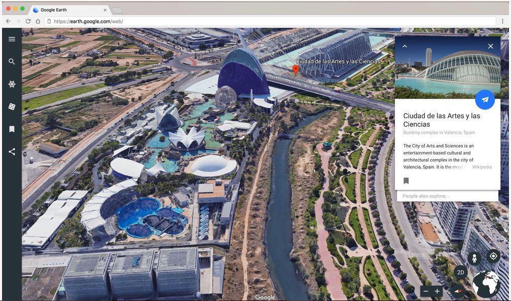 Vista desde Google Earth a la Ciudad de las Artes y las Ciencias