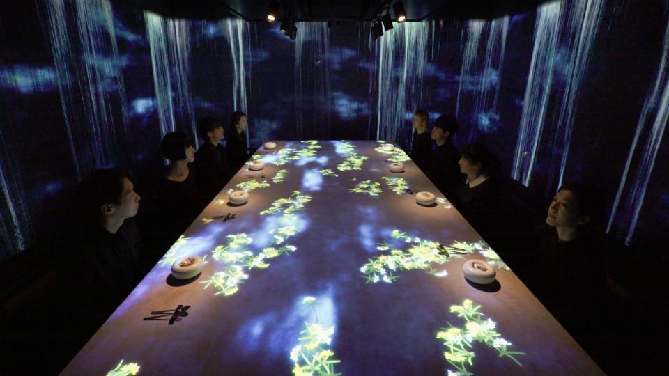 Comida en Sagaya con imágenes interactivas de TeamLab