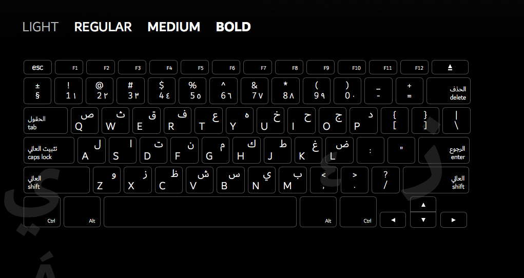 teclado tipografía 'Dubai'