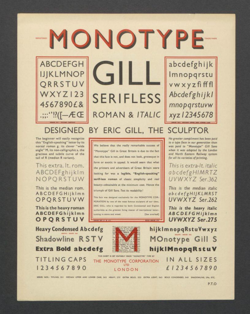 Tipografía creada por Eric Gill para Monotype