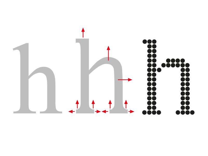Técnica de Grid Fitting (ajuste a la rejilla) que se produce gracias a la deformación de una copia temporal de la letra (perfil acomodado)