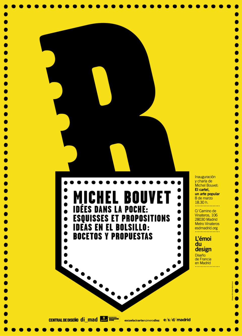 Cartel promocional de una charla de Michel Bouvet con su propio diseño