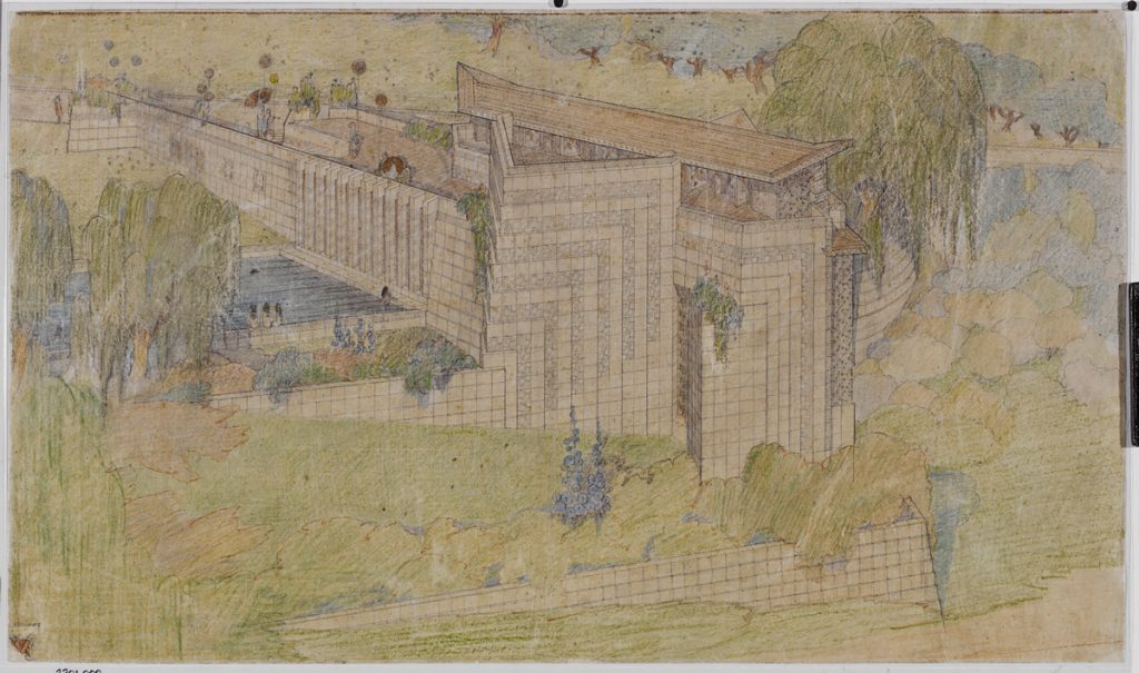 Frank Lloyd Wright (American, 1867–1959). Little Dipper School and Community Playhouse, Los Angeles. 1923. Perspective from the west. Pencil and colored pencil on tracing paper, 15 3/4 x 26 7/8″ (40 x 68.3 cm). The Frank Lloyd Wright Foundation Archives (The Museum of Modern Art | Avery Architectural & Fine Arts Library, Columbia University, New York).
