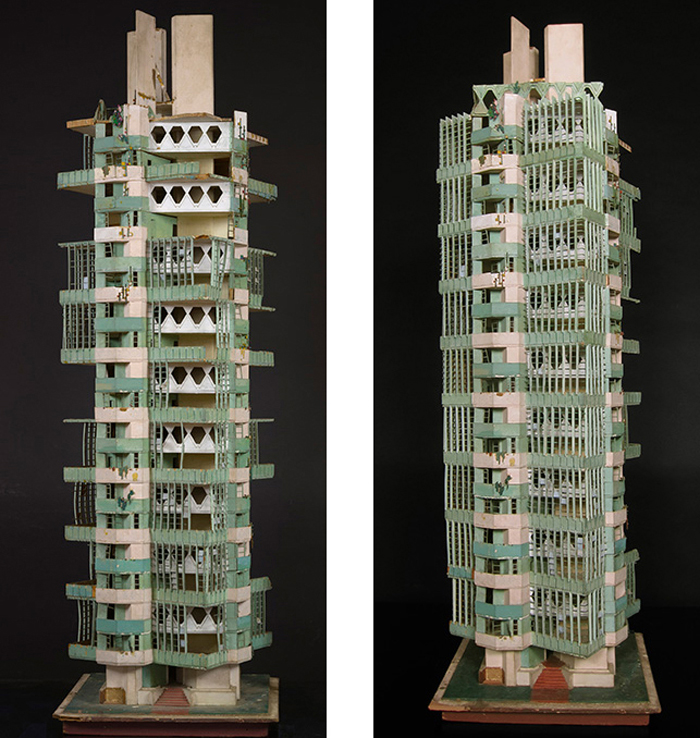 Frank Lloyd Wright (American, 1867–1959). Model of St. Mark's Tower. Unbuilt project. New York, New York. 1927-31. Painted wood. 53 x 16 x 16″ (134.6 x 40.6 x 40.6 cm). The Frank Lloyd Wright Foundation Archives (The Museum of Modern Art | Avery Architectural & Fine Arts Library, Columbia University, New York).