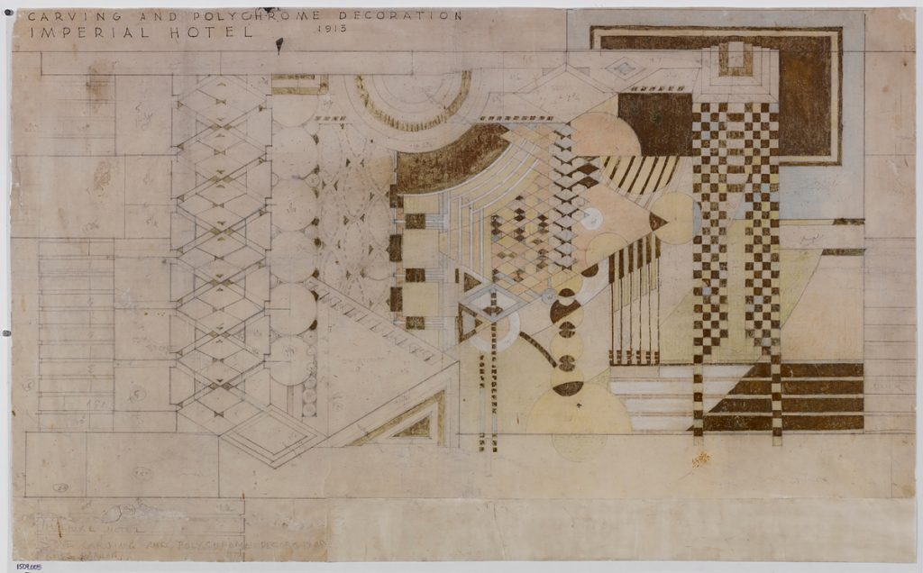 Frank Lloyd Wright (American, 1867–1959). Imperial Hotel, Tokyo. 1913–23. Stone carving and polychrome decorations for the north parlor. Gold paint, pencil, and colored pencil on tracing, 21 7/8 x 35 7/8 in. (55.6 x 91.1 cm). The Frank Lloyd Wright Foundation Archives (The Museum of Modern Art | Avery Architectural & Fine Arts Library, Columbia University, New York).