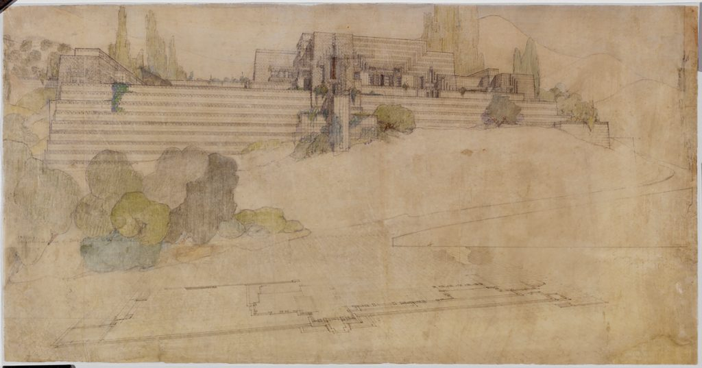 Frank Lloyd Wright (American, 1867–1959). Gordon Strong Automobile Objective and Planetarium, Sugarloaf Mountain, Maryland. Project, 1924–25. Perspective. Pencil and colored pencil on tracing paper, 19 3/4 × 30 3/4″ (50.2 × 78.1 cm). The Frank Lloyd Wright Foundation Archives (The Museum of Modern Art | Avery Architectural & Fine Arts Library, Columbia University, New York).