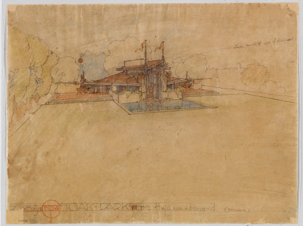 """Frank Lloyd Wright (American, 1867–1959). Kindersymphonies Playhouses for the Oak Park Playground Association, Oak Park, Illinois. Project, 1926. Perspective of the """"Two for a Penny"""" house. Pencil and colored pencil on tracing paper, 10 1/2 x 13 7/8 in. (26.7 x 35.2 cm). The Frank Lloyd Wright Foundation Archives (The Museum of Modern Art   Avery Architectural & Fine Arts Library, Columbia University, New York)."""