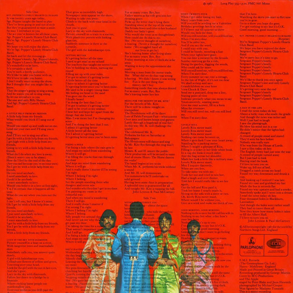 Contraportada del álbum 'Sgt. Pepper's Lonely Hearts Club Band'