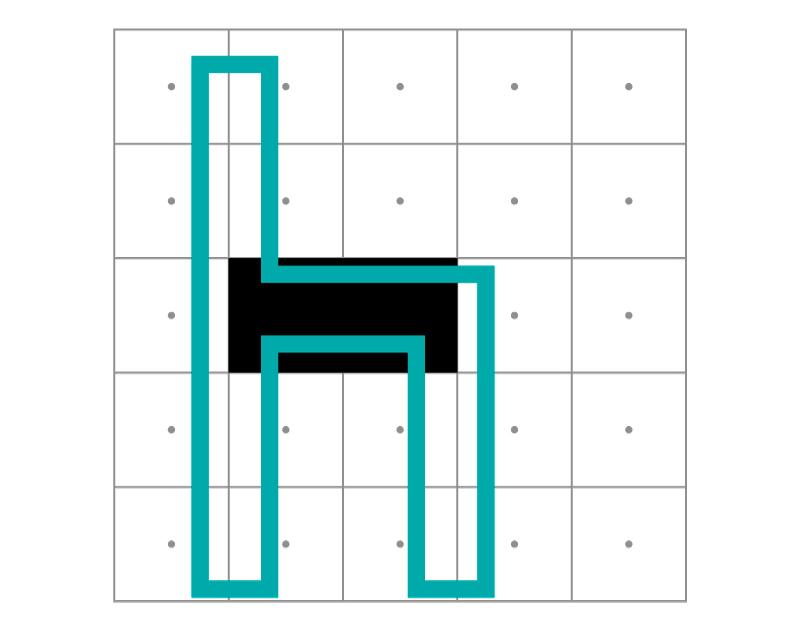 En esta hache las astas verticales no llegan a ocupar el 50% de varios píxeles, por lo que el sistema no los pinta de negro