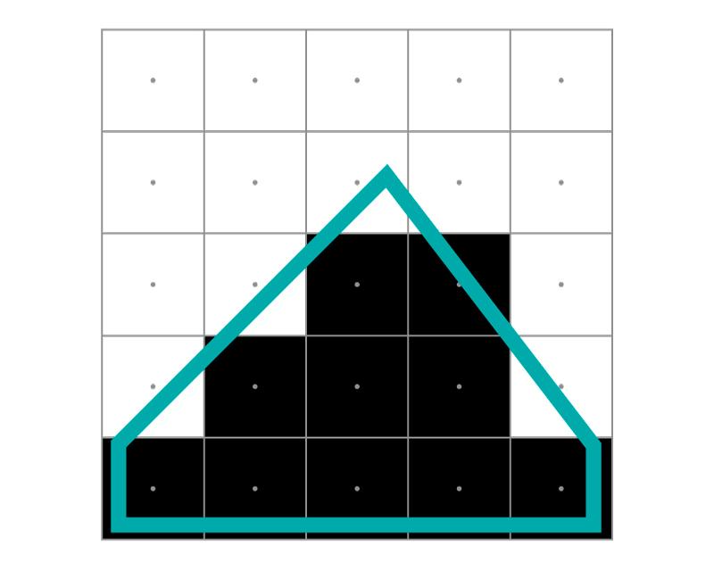 Aquí vemos perfectamente como, por un pelo, el 4º píxel de la 3ª fila se pinta de negro y deforma la diagonal