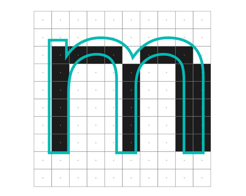 En esta eme, las 3 astas verticales deberían tener un píxel de grosor, y los dos contragrafismos internos deberían tener un ancho de 3 píxeles