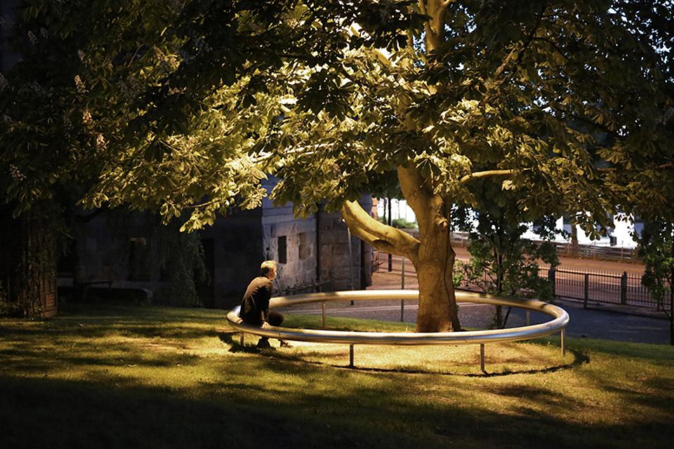 OUI proyecto instalación hombre mirando árbol 01