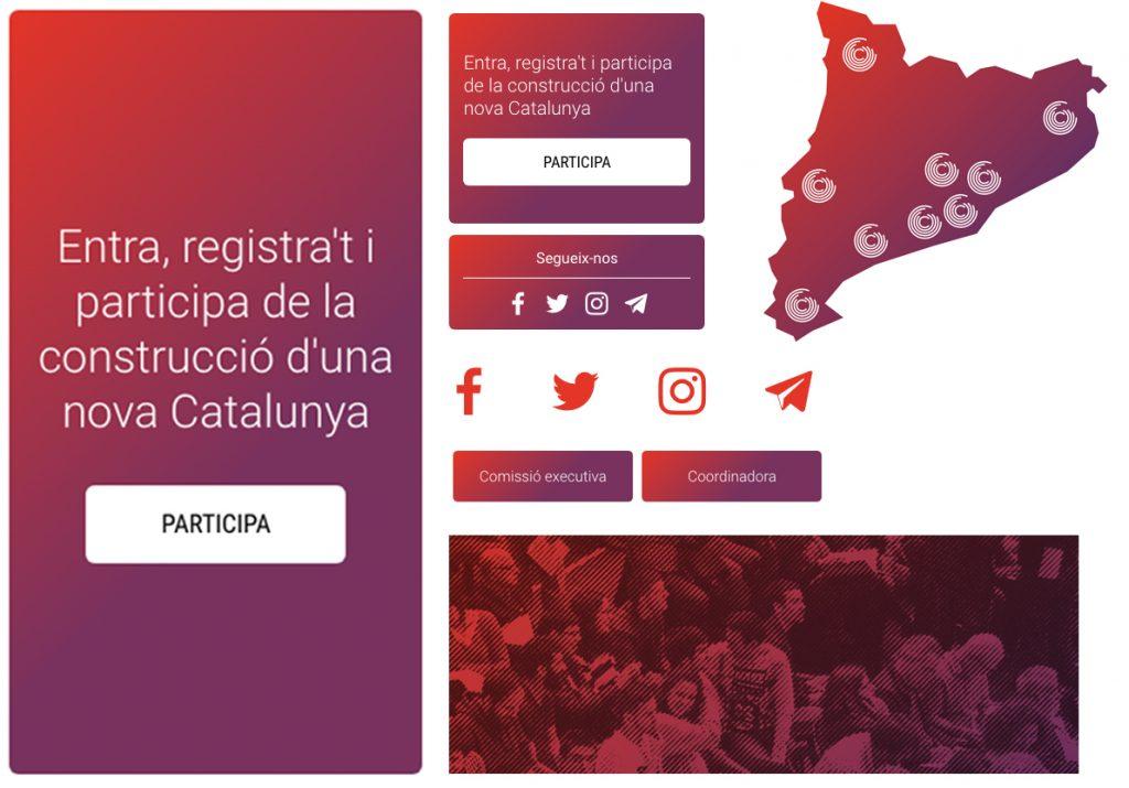 Elementos de la página web de Catalunya en Comú