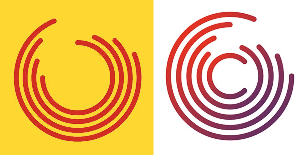 Icono provisional e icono actual de Catalunya en Comú