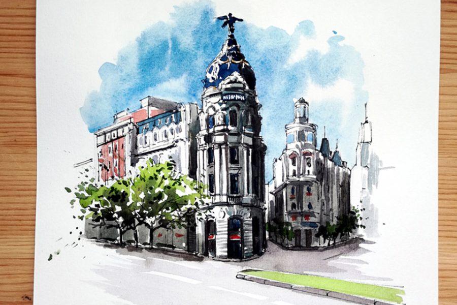Alicia Aradilla realiza un proyecto de Urban Sketch de los sitios que visita