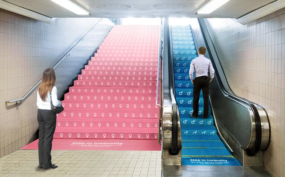 Impactante campaña creada por Kazunori Shiina en el metro de Nueva York- campaña publicitaria en el metro en las escaleras de NY