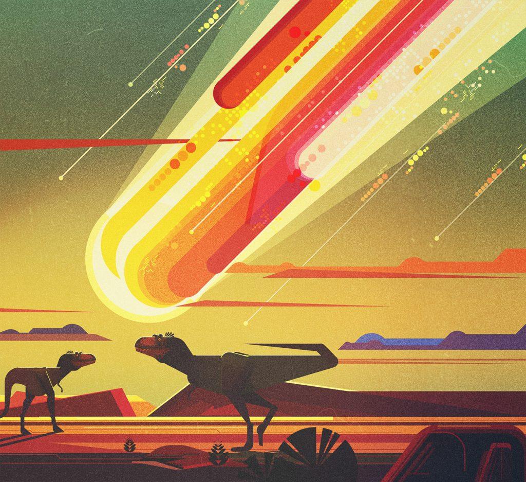 Meteorito en la ilustracion de James Gilleard