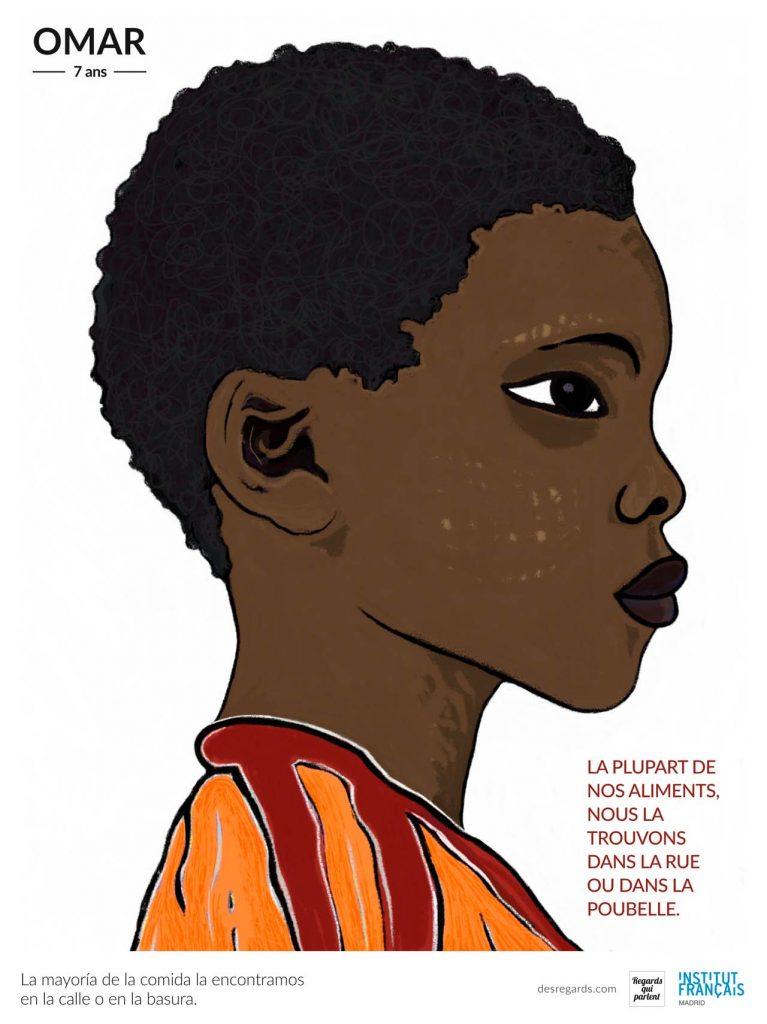 Omar, uno de los protagonistas de la exposicion de ilustracion solidaria
