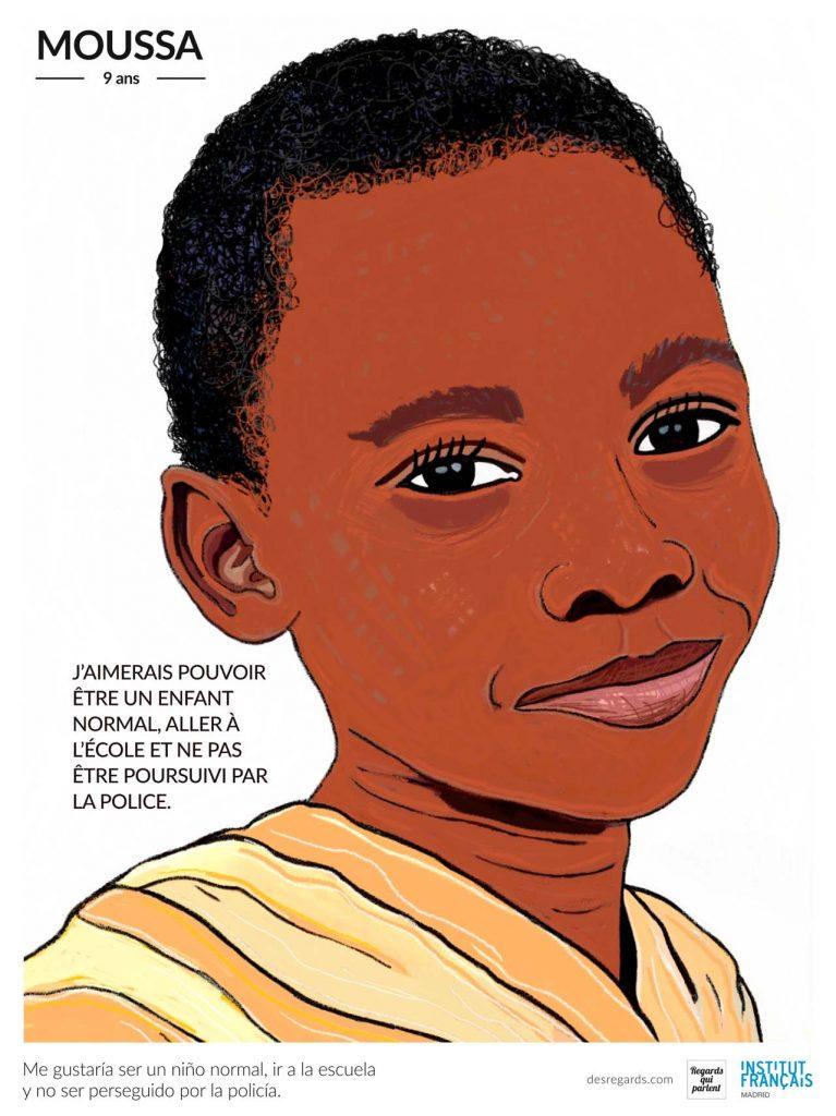 Retrato de Mousa, uno de los talibus