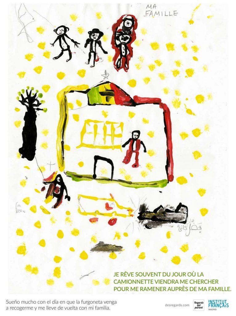 Dibujo de un nino talibu que suena con volver con su familia