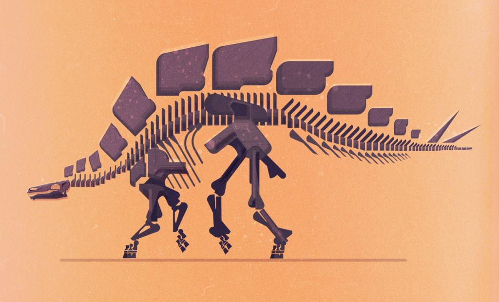 Ilustracion de huesos de dinosaurio de Jaime Gilleard