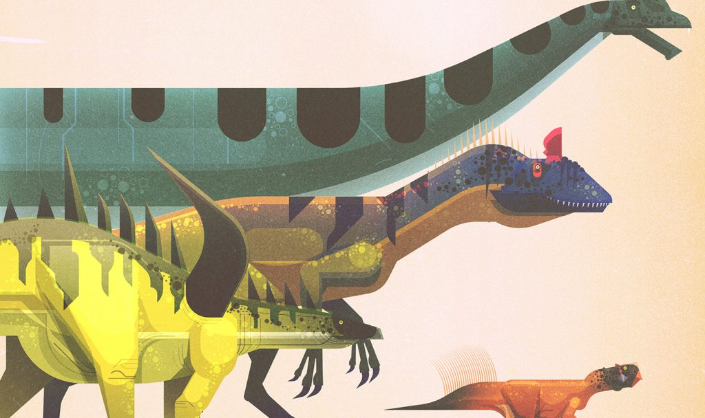 Ilustracion de dinosaurios de James Gilleard
