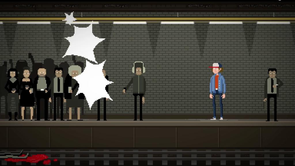 Escena de personas fotografiando un suicidio del videoclip 'Futur'