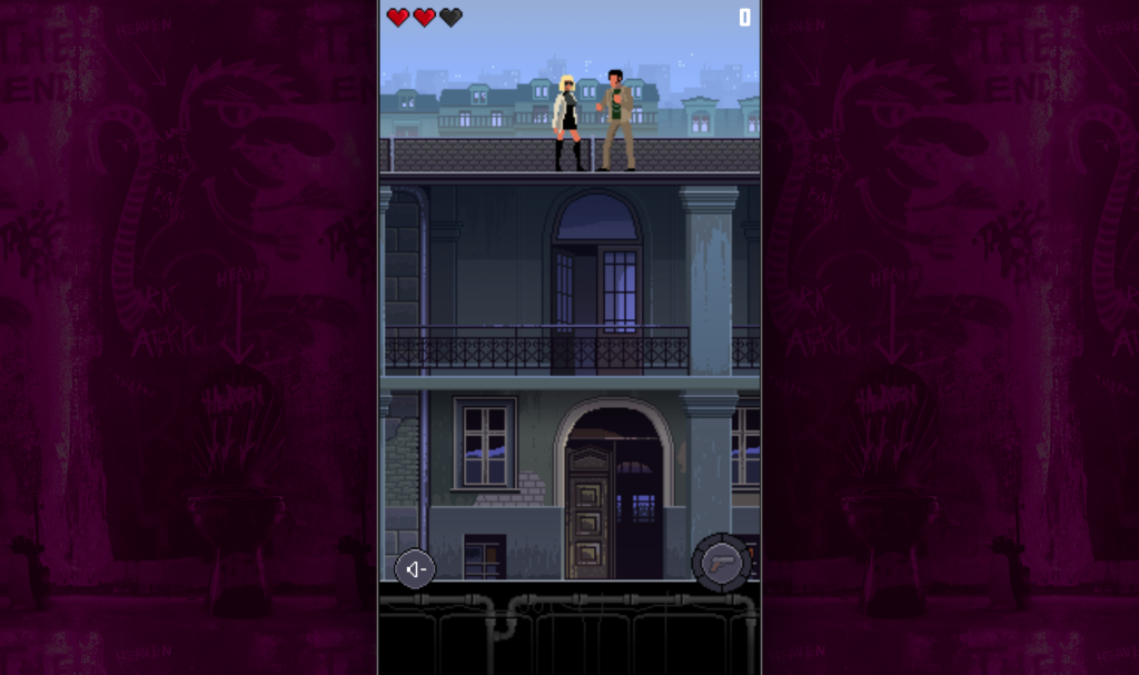 Primer escenario del videojuego en pixel art de Atomic Blonde