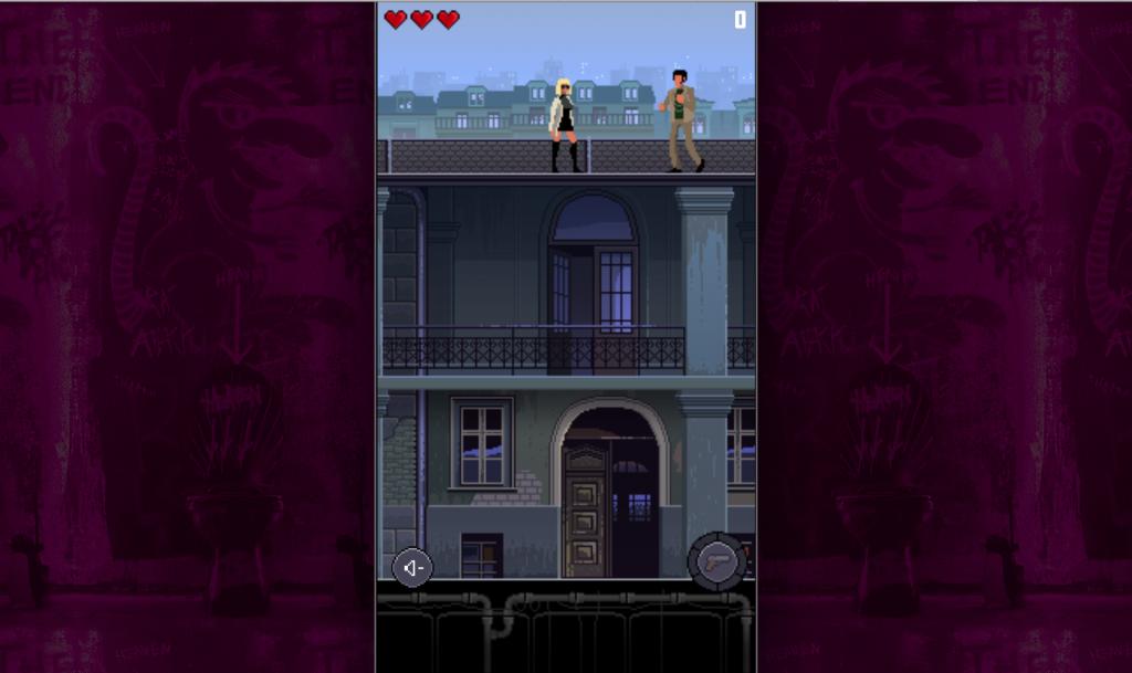 Captura del videojuego en pixel art de Atomic Blonde